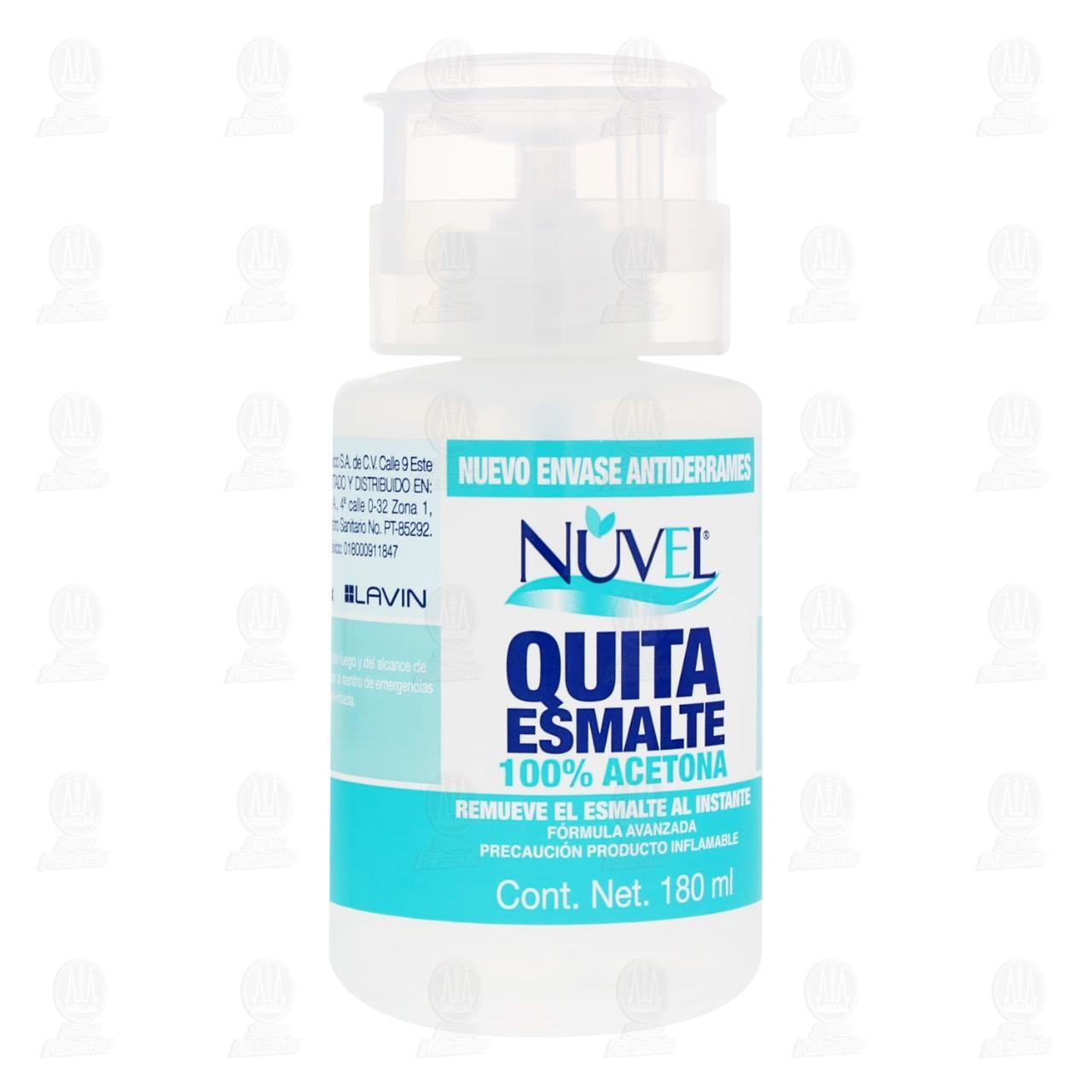 Comprar Quita Esmalte Nuvel 100% Acetona, 180 ml. en Farmacias Guadalajara