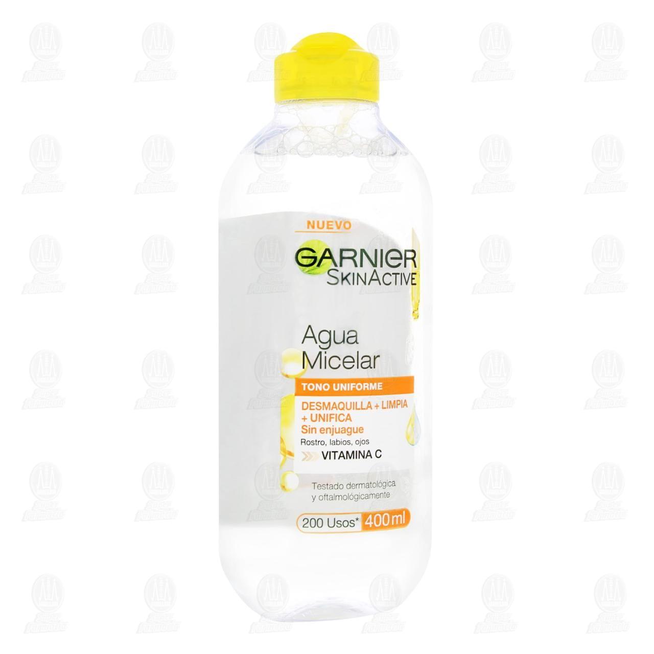 Comprar Agua Micelar Garnier SkinActive Express Aclara Tono Uniforme, 400 ml. en Farmacias Guadalajara
