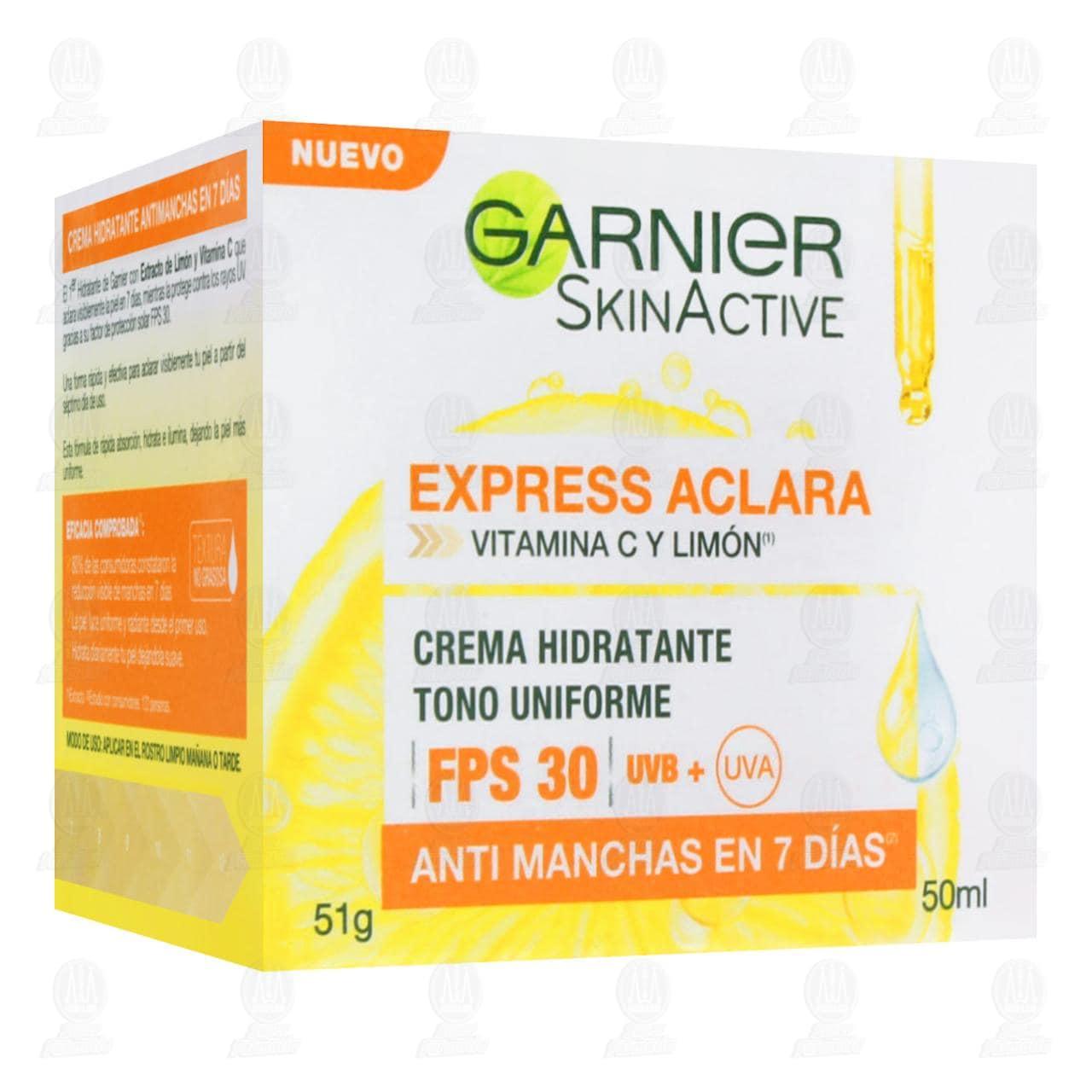 Comprar Crema Facial Garnier SkinActive Express Aclara Hidratante Anti Manchas FPS 30, 50 ml. en Farmacias Guadalajara