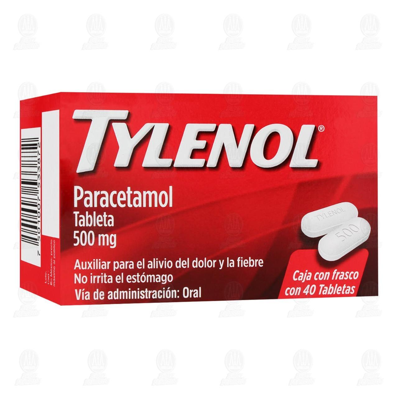 Comprar Tylenol 500mg 40 Tabletas en Farmacias Guadalajara