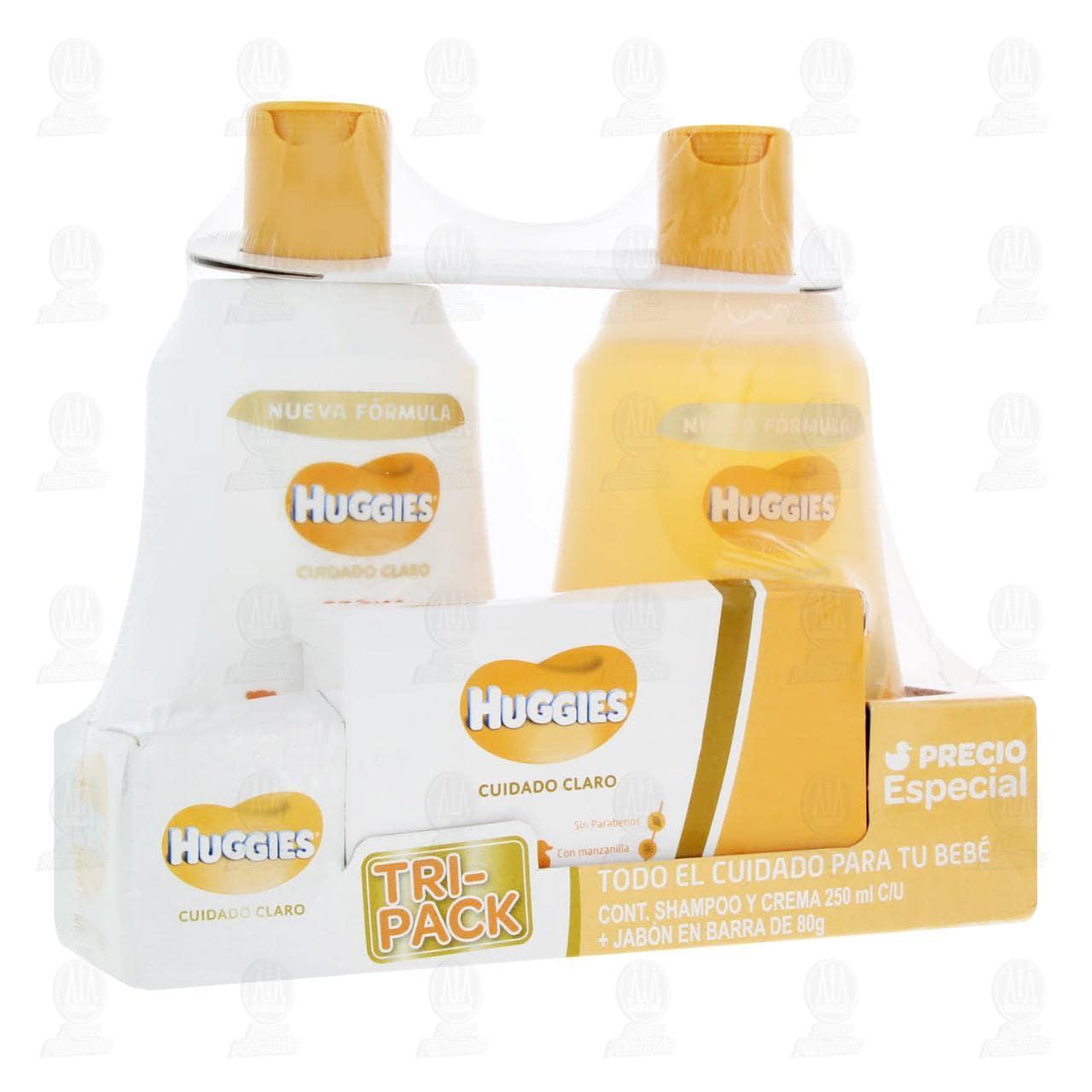 Comprar Estuche Huggies Cuidado Claro para Bebé con Crema 250 ml + Shampoo 250 ml + Jabón 80 gr, 3 pzas. en Farmacias Guadalajara