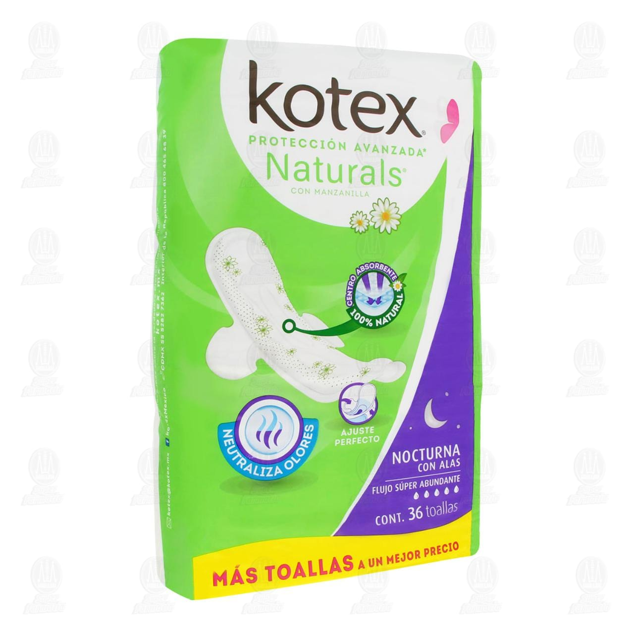 Comprar Toalla Femenina Kotex Naturals Nocturna con Alas, 36 pzas. en Farmacias Guadalajara