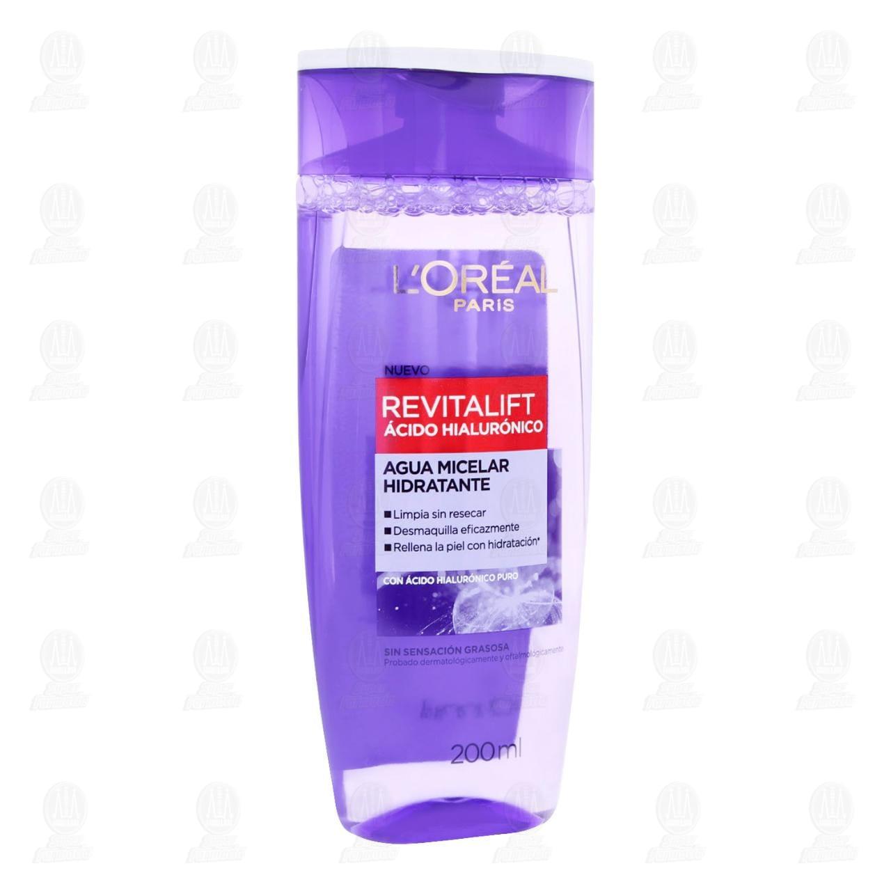 Comprar Agua Micelar L'Oréal Paris Revitalift Ácido Hialurónico, 200 ml. en Farmacias Guadalajara