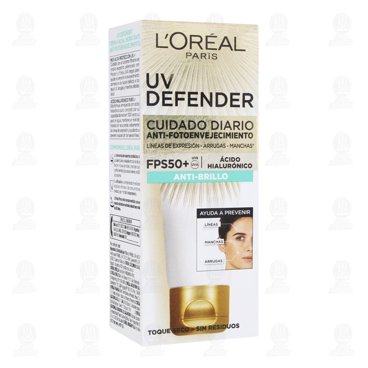 Comprar Crema Facial L'Oréal Paris UV Defender Anti-Brillo, 40 gr. en Farmacias Guadalajara