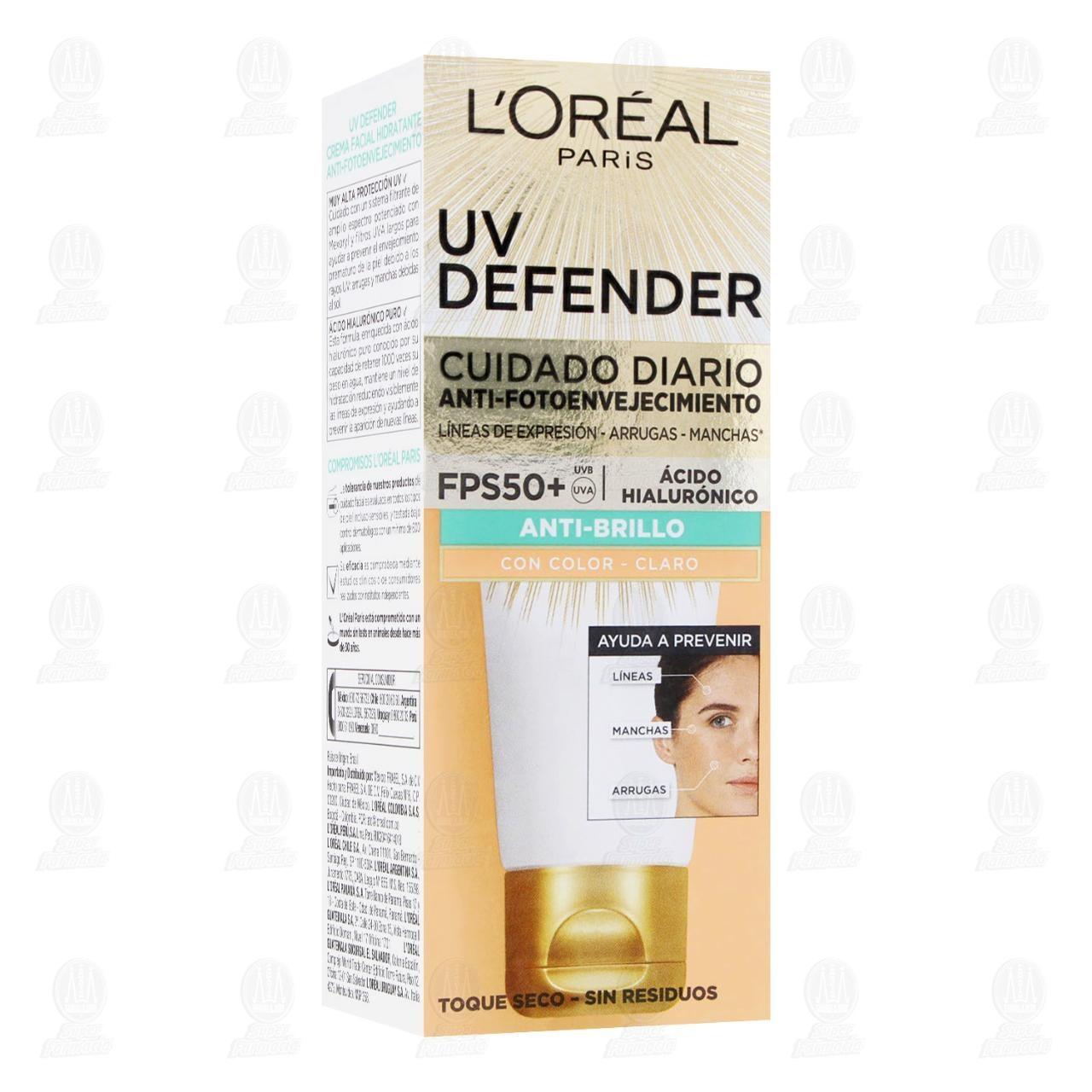 Comprar Crema Facial L'Oréal Paris UV Defender Anti-Brillo con Color Claro, 40 gr. en Farmacias Guadalajara