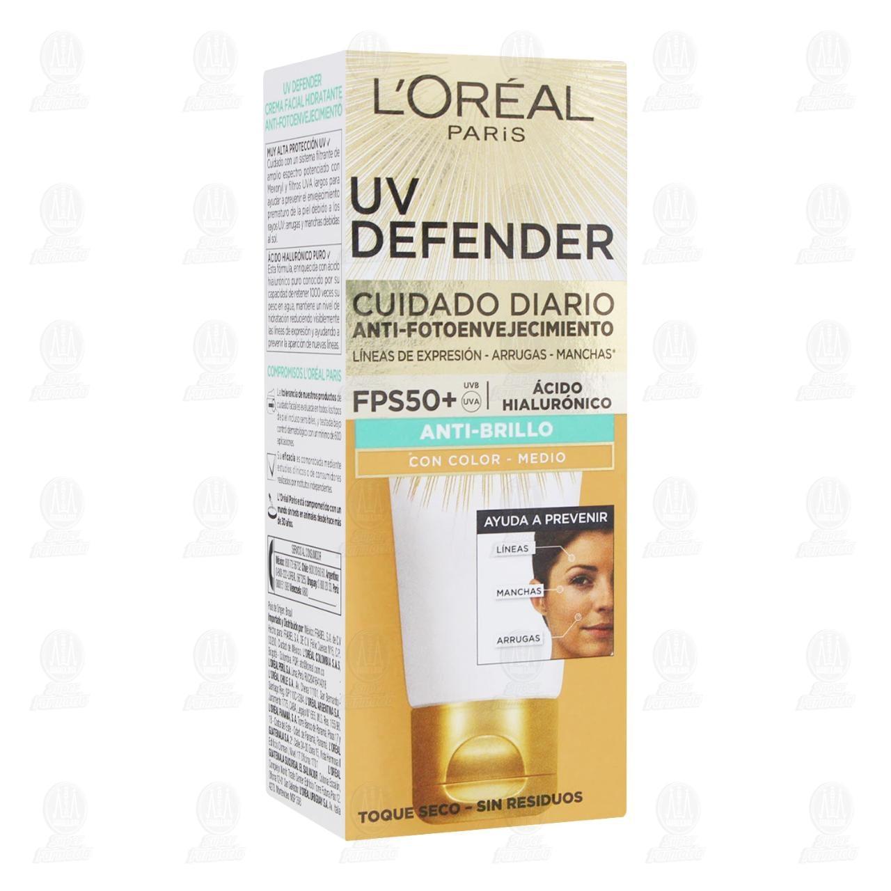 Comprar Crema Facial L'Oréal Paris UV Defender Anti-Brillo con Color Medio, 40 gr. en Farmacias Guadalajara