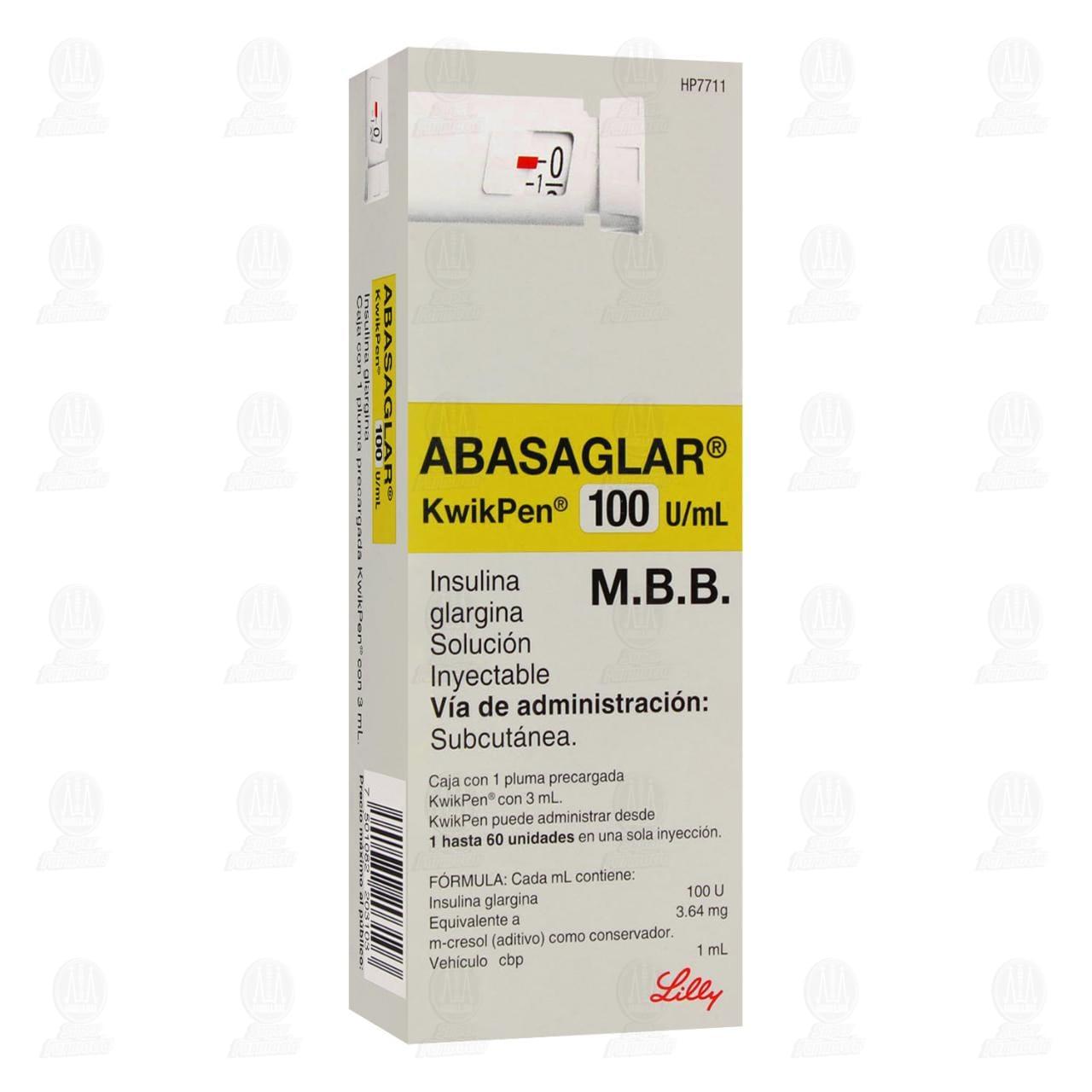 Comprar Abasaglar KwikPen 100 u/ml 1 Pluma Recargada 3ml en Farmacias Guadalajara