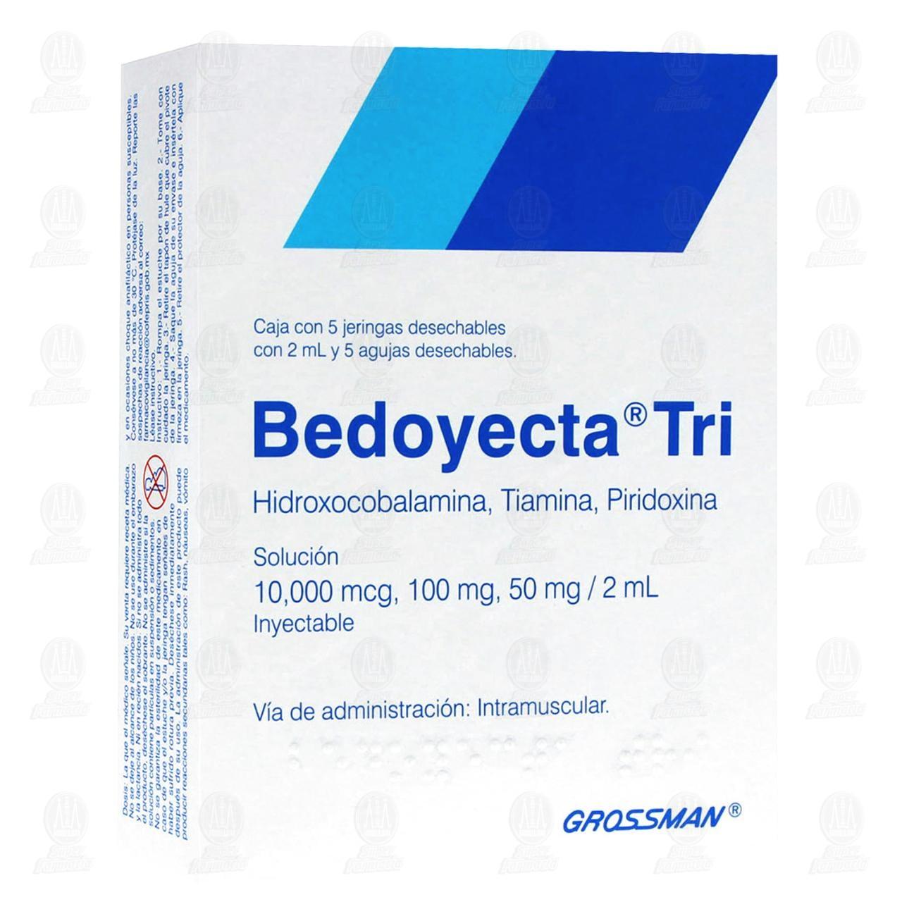 Comprar Bedoyecta Tri 10,000mcg, 100mg, 50mg, 2ml 5 Jeringas con 2ml en Farmacias Guadalajara
