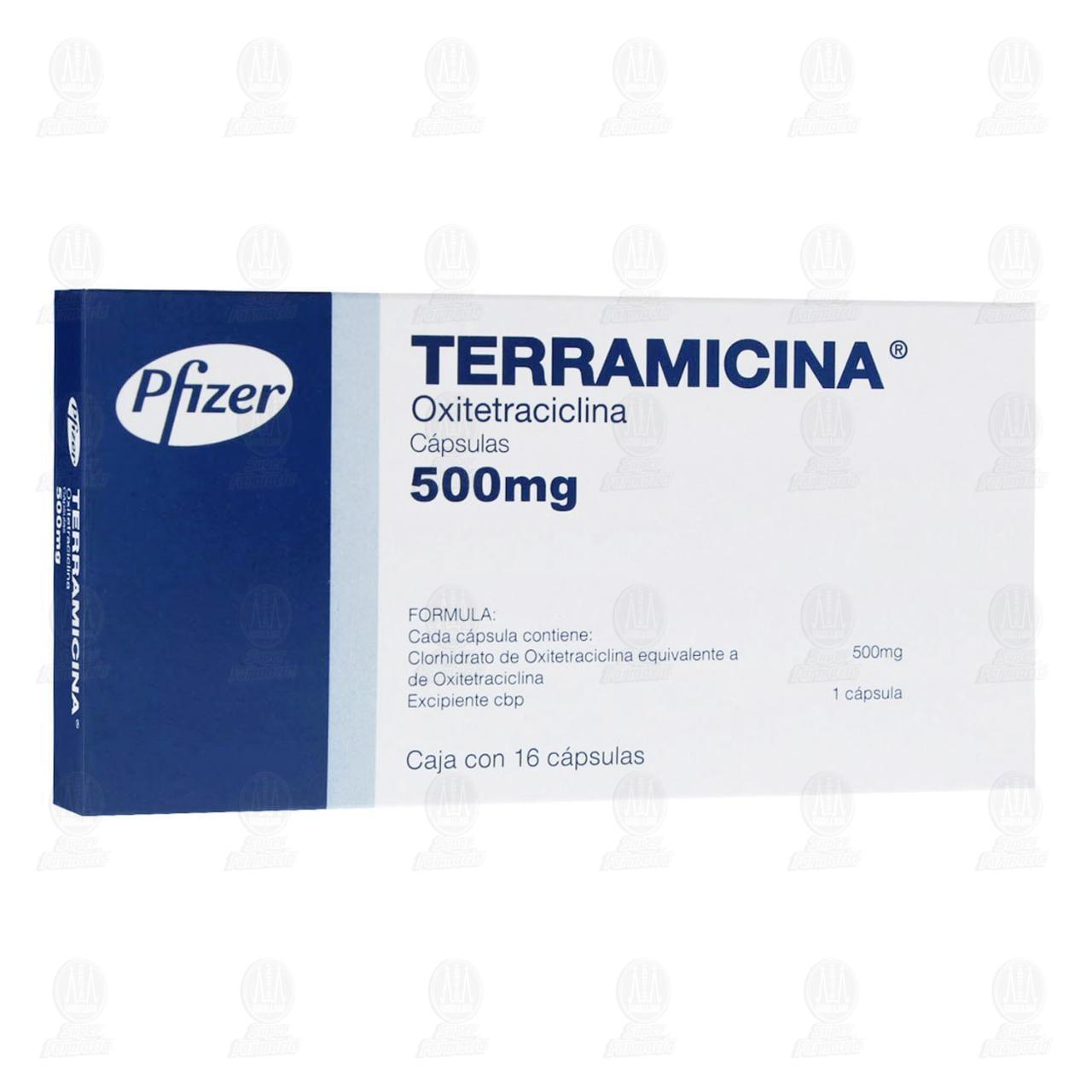 Comprar Terramicina 500mg 16 Cápsulas en Farmacias Guadalajara