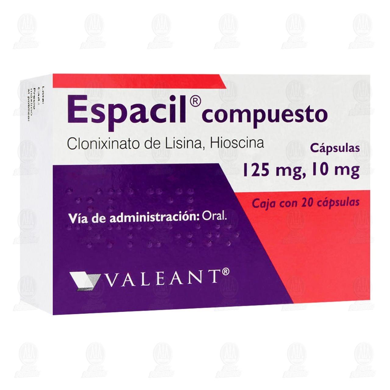 Comprar Espacil Compuesto 125mg/10mg 20 Cápsulas en Farmacias Guadalajara
