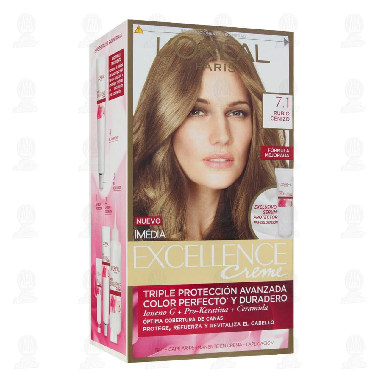 Tinte Excellence Creme Triple Protección Avanzada Color Rubio Cenizo, 7 pzas.