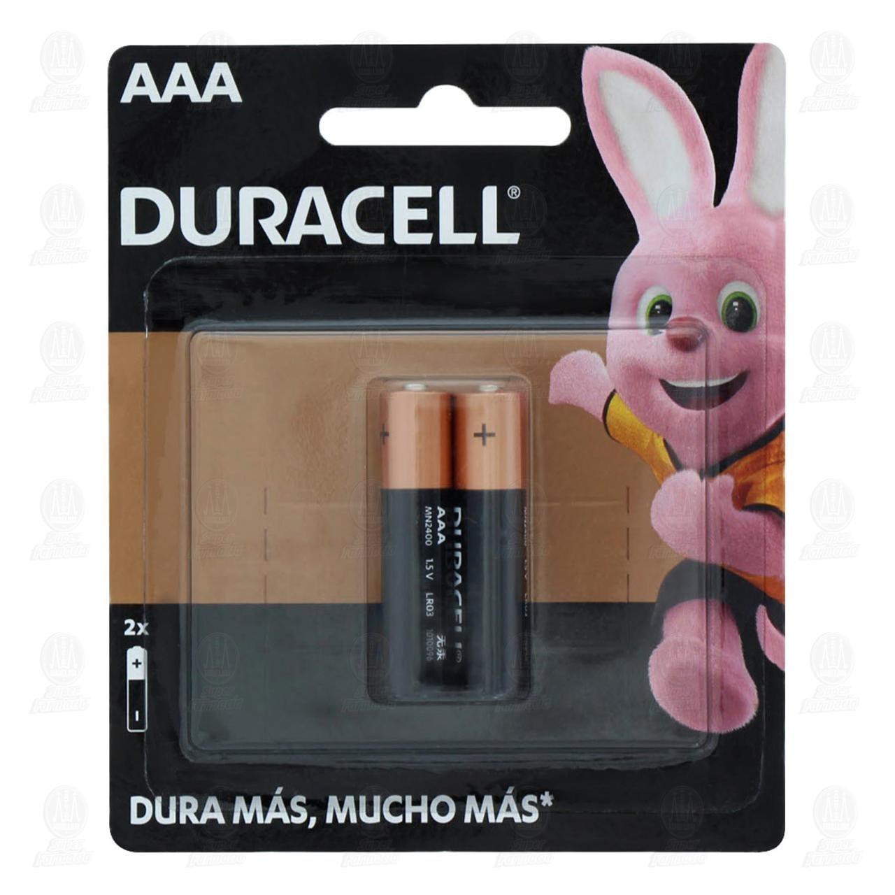 Comprar Pilas Duracell Alcalinas AAA, 2 pzas. en Farmacias Guadalajara