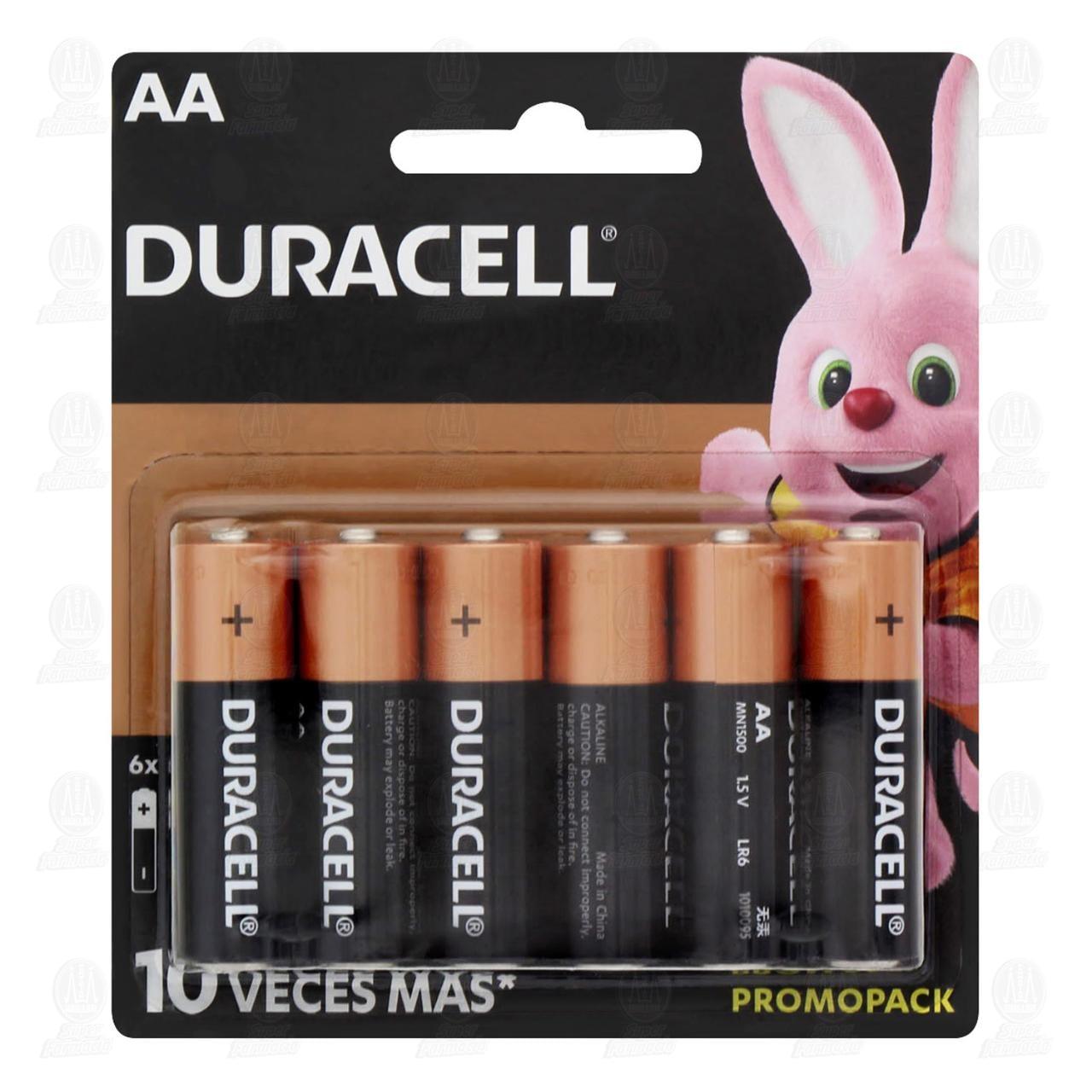 Pilas Duracell Alcalinas AA, 6 pzas.
