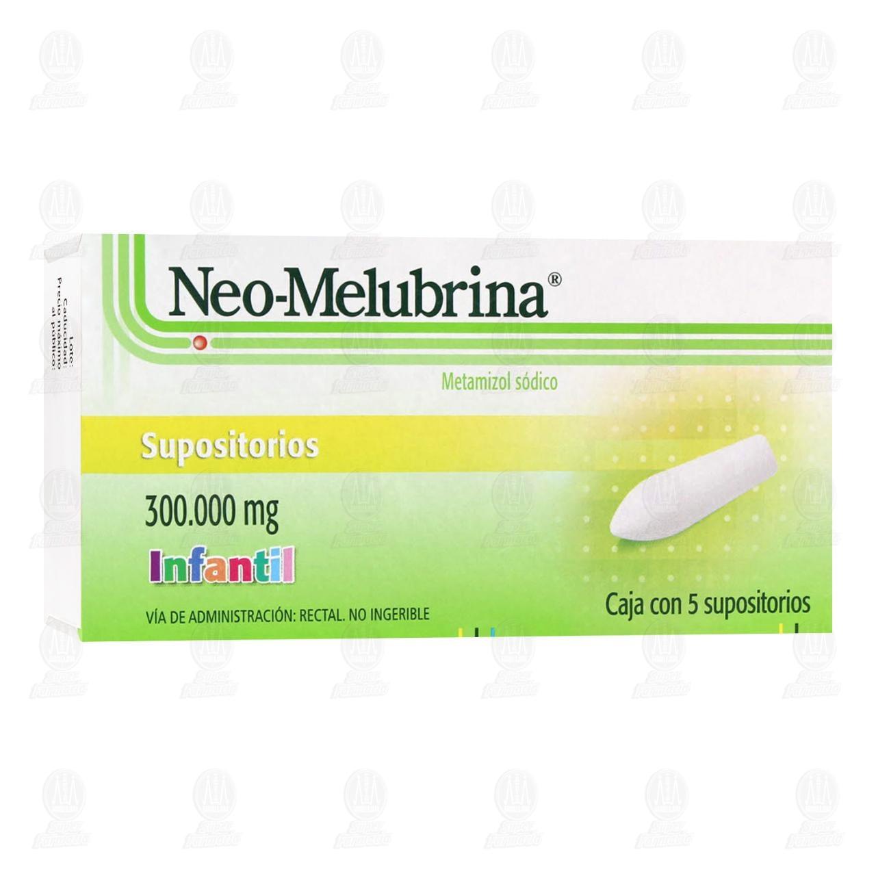 Comprar Neo-Melubrina Infantil 300mg 5 Supositorios en Farmacias Guadalajara