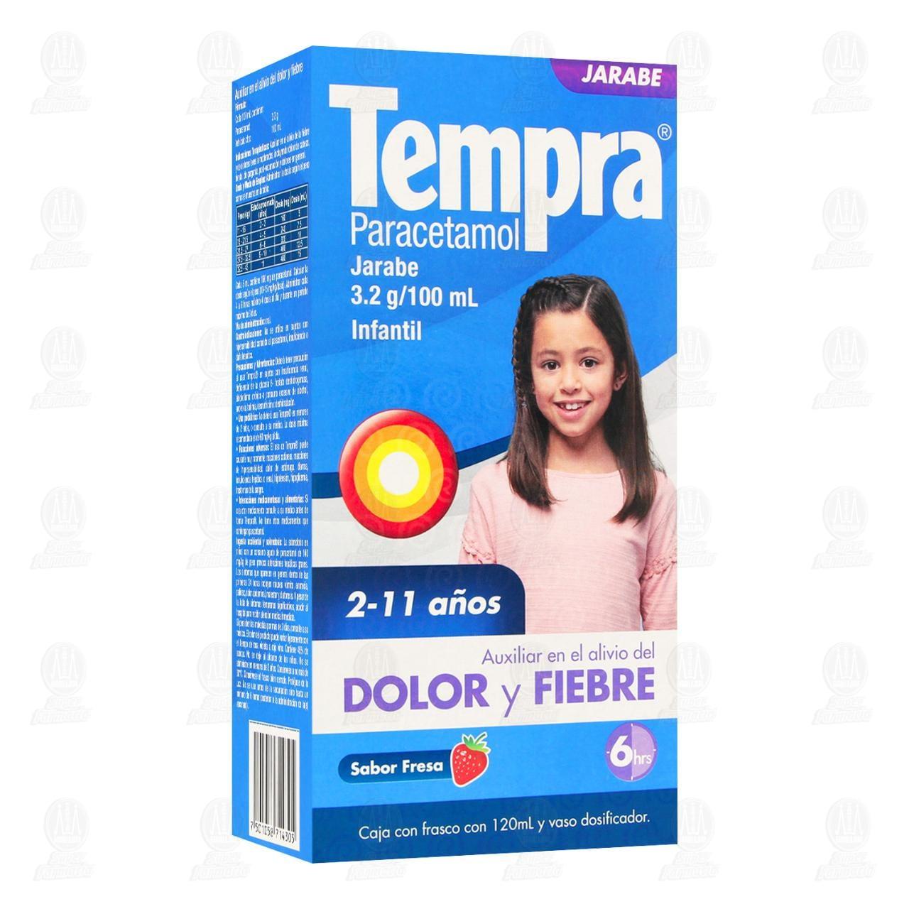 Comprar Tempra Jarabe Infantil Sabor Fresa 120ml en Farmacias Guadalajara