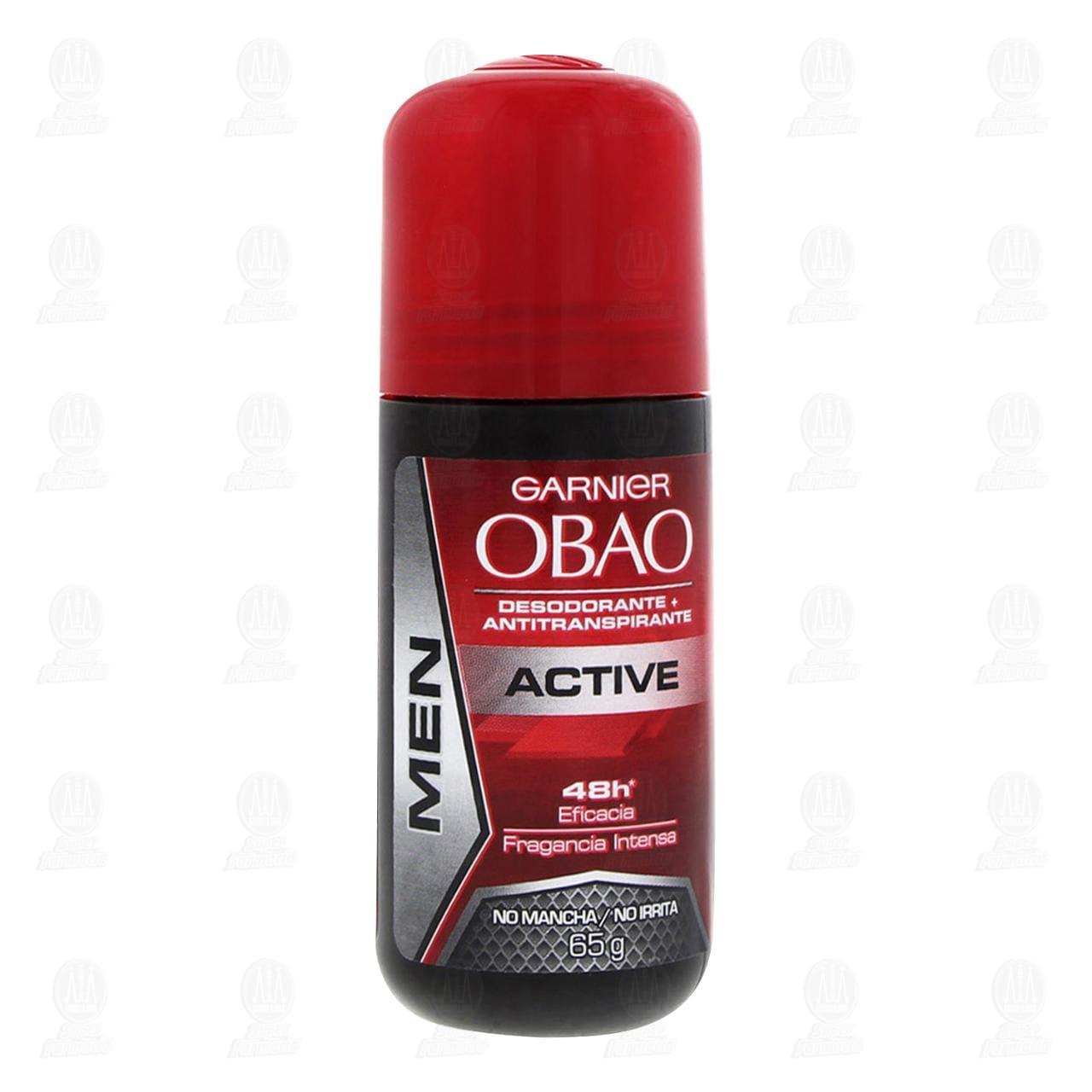 Comprar Desodorante + Antitranspirante Garnier Obao Men Active Roll-On, 65 gr. en Farmacias Guadalajara