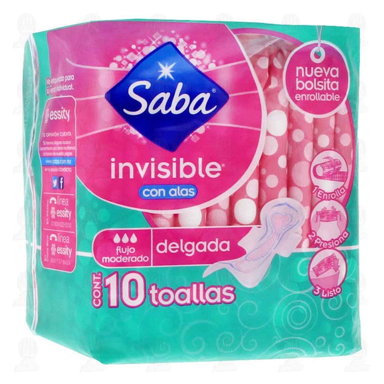 Comprar Toallas Femenina Saba Invisible Delgada con Alas, 10 pzas. en Farmacias Guadalajara