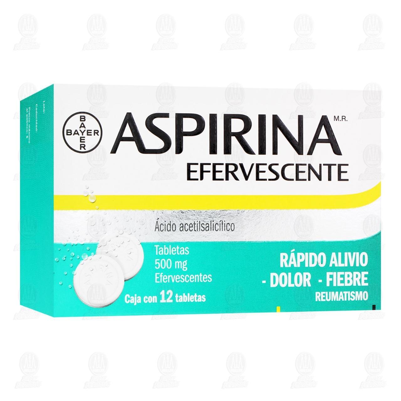 Comprar Aspirina Efervescente 500mg 12 Tabletas en Farmacias Guadalajara