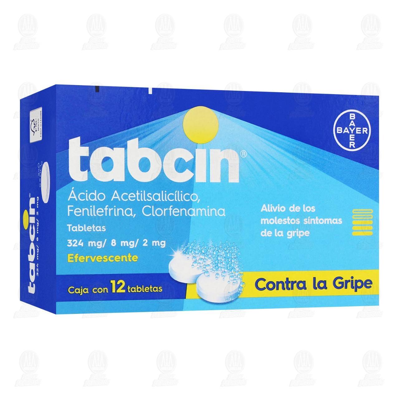 Comprar Tabcin Efervescente Alivio de la Gripe y sus Principales Síntomas 324mg/8mg/2mg 12 Tabletas en Farmacias Guadalajara