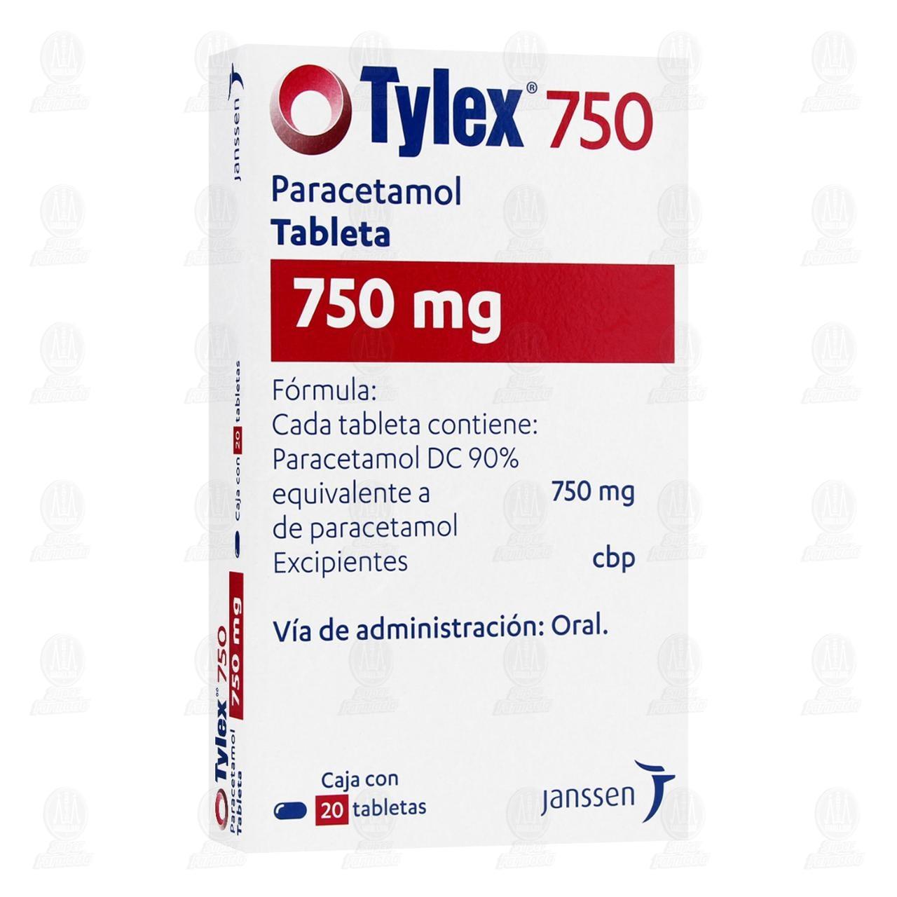 Tylex 750mg 20 Tabletas