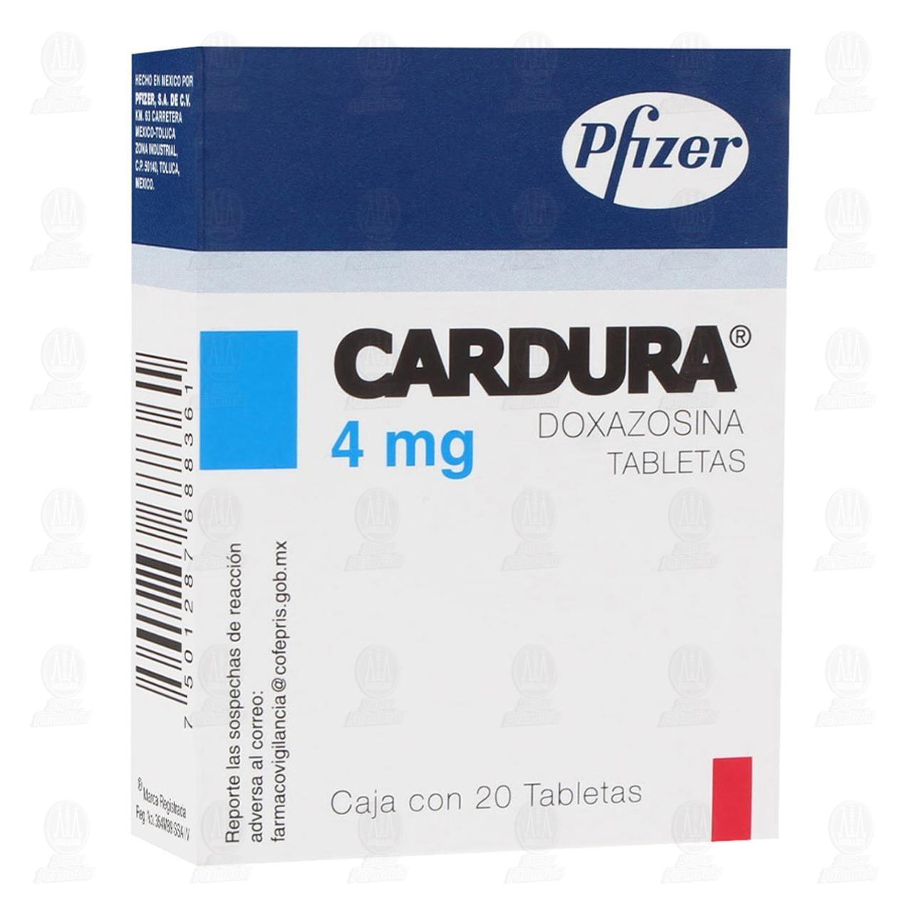 Comprar Cardura 4mg 20 Tabletas en Farmacias Guadalajara