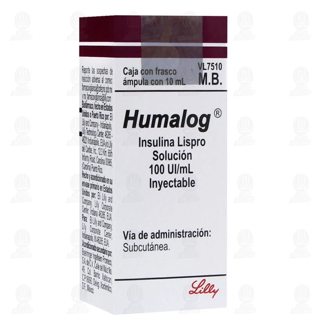 Comprar Humalog 100UI/ml Solución Inyectable Ámpula 10ml en Farmacias Guadalajara
