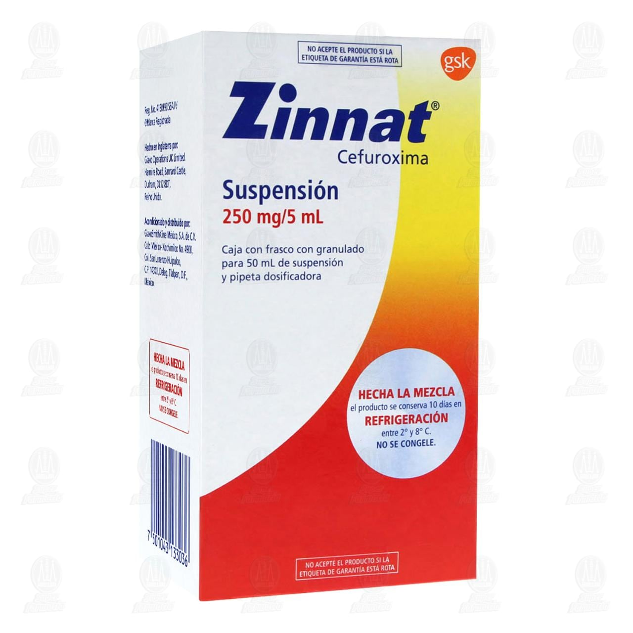 Comprar Zinnat 250mg/5ml 50ml Suspensión en Farmacias Guadalajara