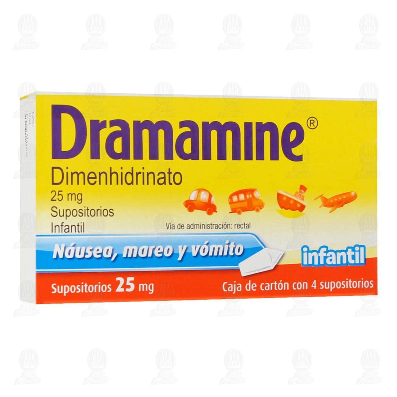 Comprar Dramamine Infantil 25mg 4 Supositorios en Farmacias Guadalajara