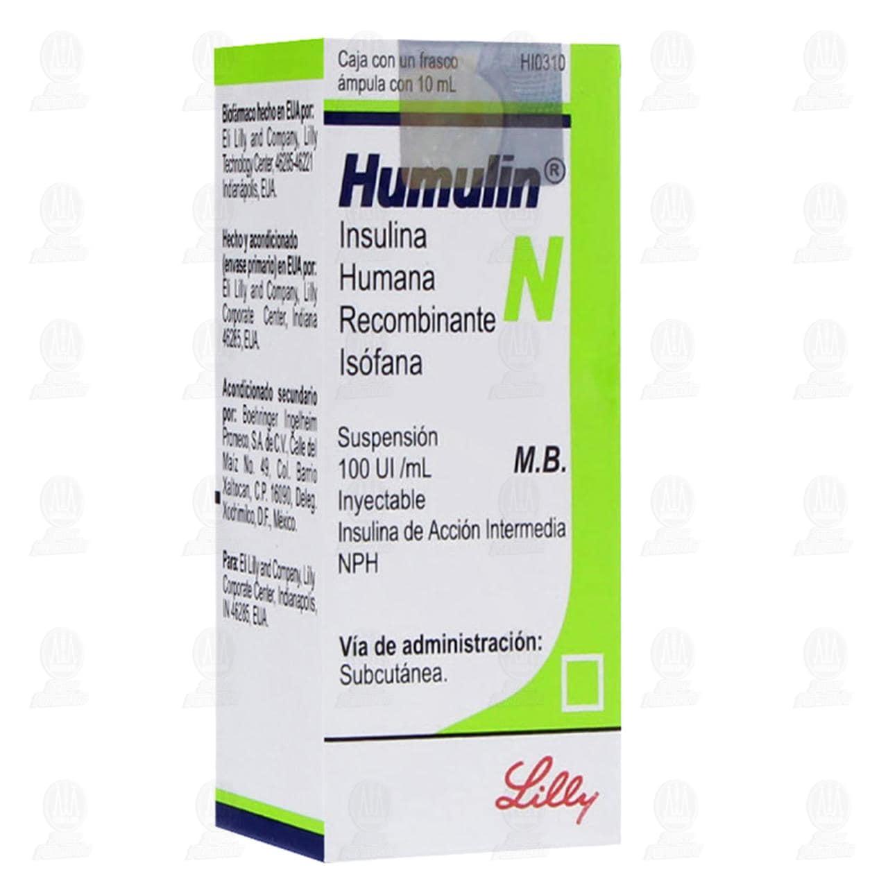 Comprar Humulin N Frasco Ámpula 10ml, Acción Intermedia NPH 100UI en Farmacias Guadalajara
