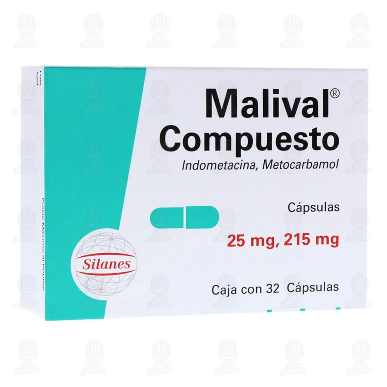 Comprar Malival Compuesto 25mg/215mg 32 Cápsulas en Farmacias Guadalajara