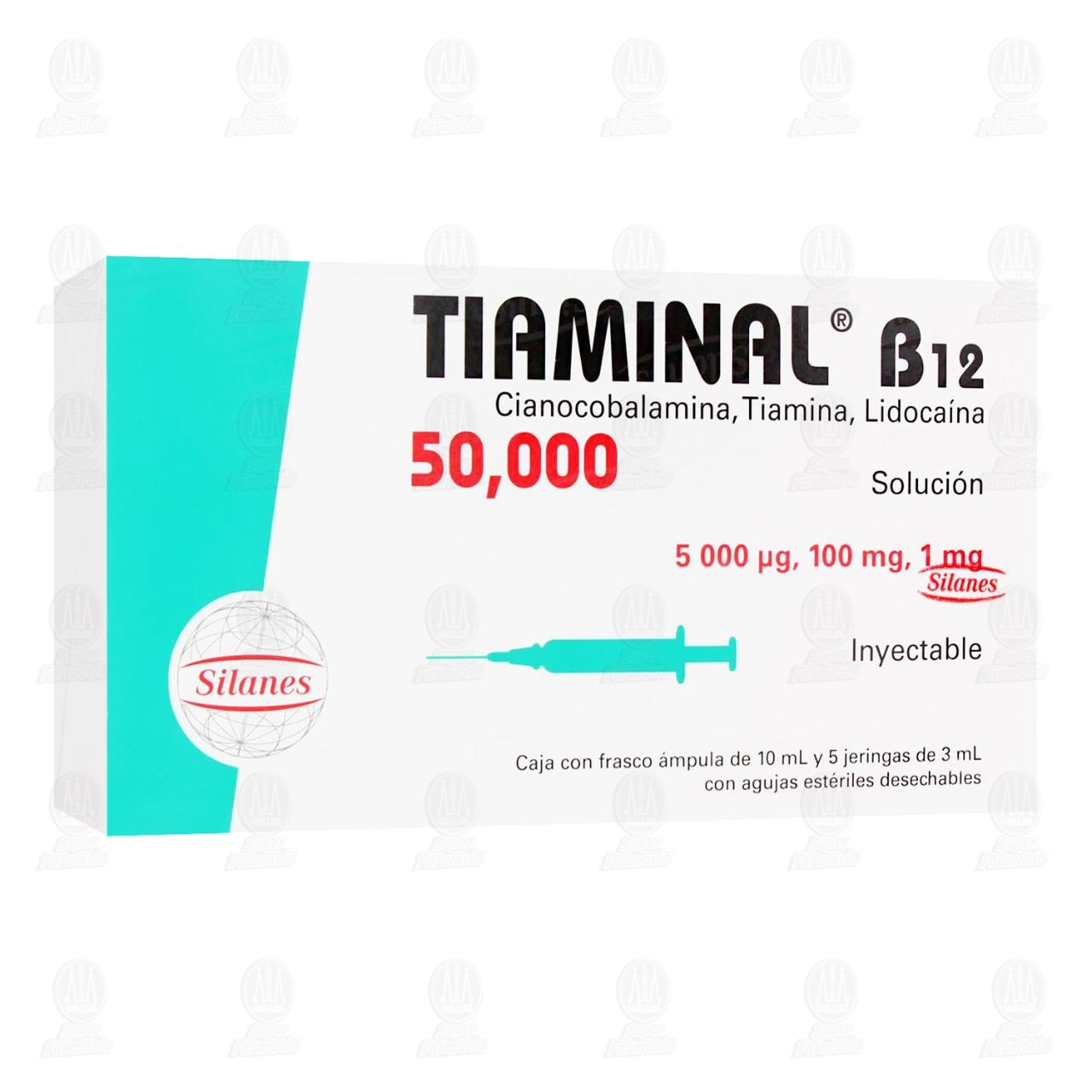 Comprar Tiaminal B12 50,000mcg/100mg/1mg 5 Jeringas de 3ml en Farmacias Guadalajara