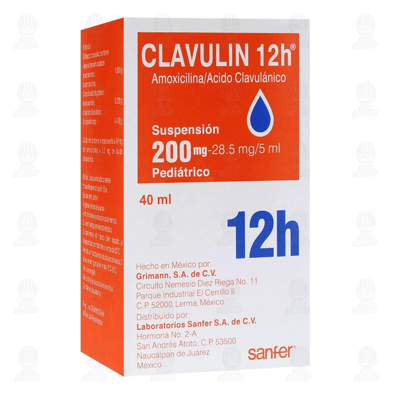 Comprar Clavulin 12h 200mg/28.5mg/5ml 40ml Suspensión Pediátrico en Farmacias Guadalajara