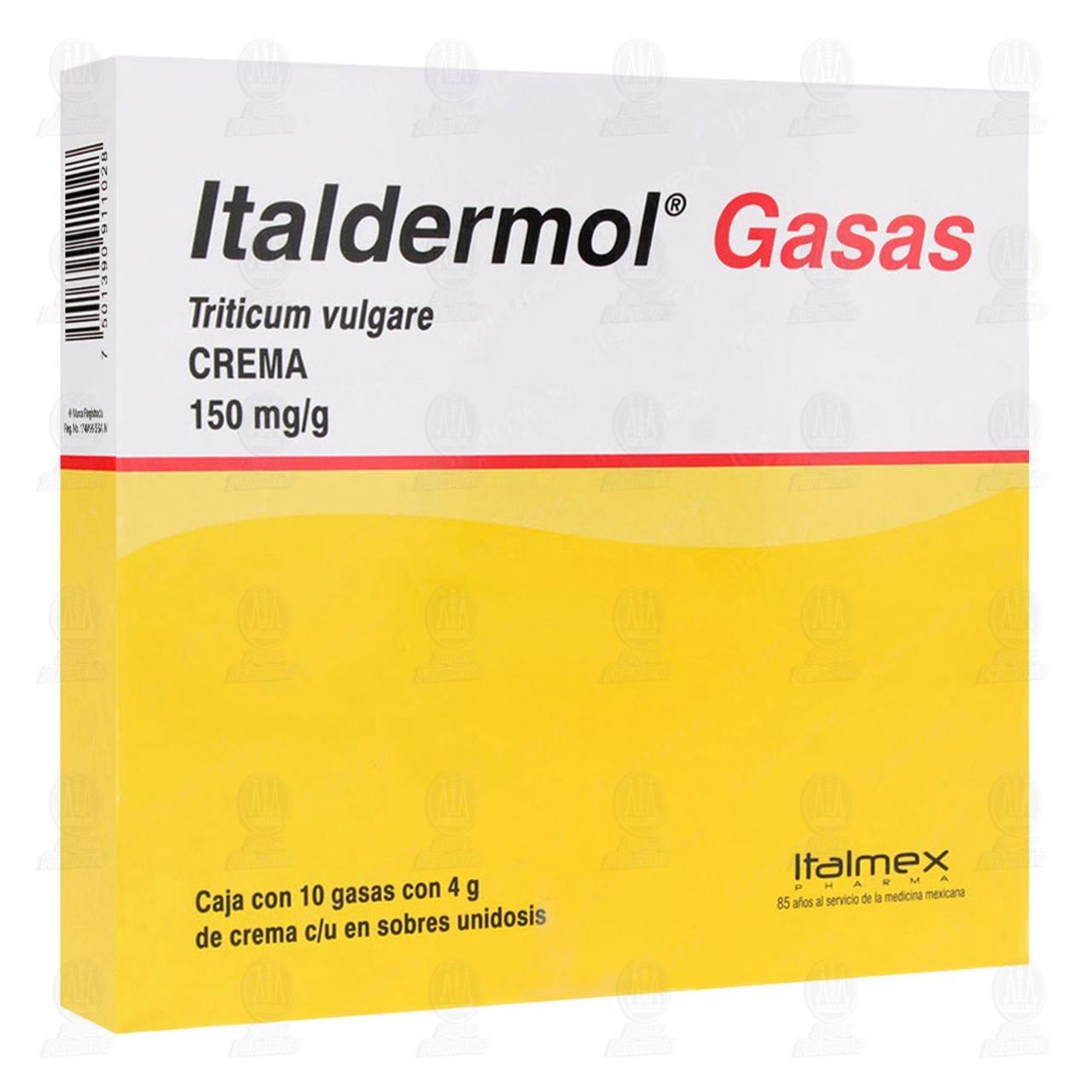 Comprar Italdermol Gasas 150mg/gr 10 Gasas con 4gr de Crema c/u en Farmacias Guadalajara