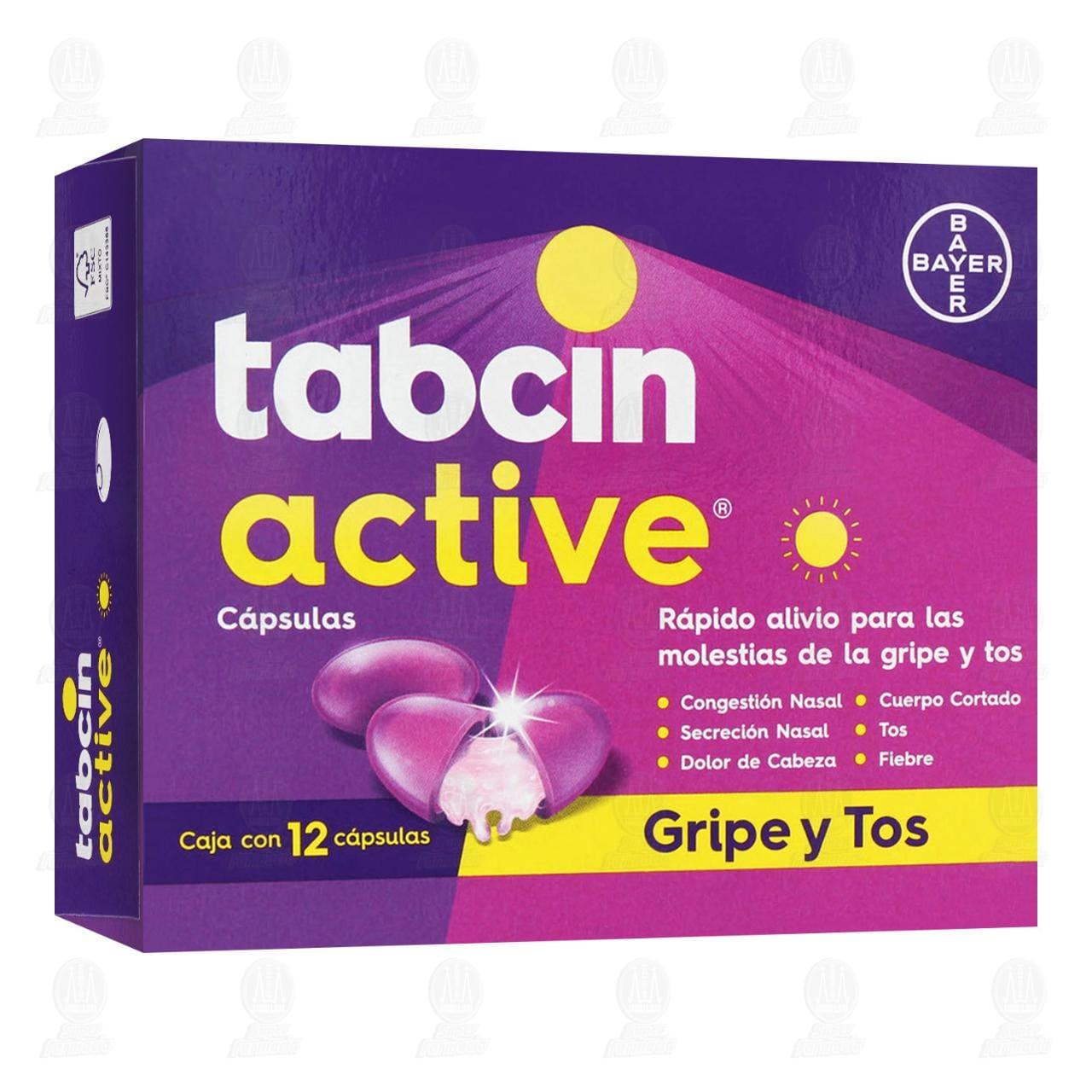 Comprar Tabcin Active Rápido Alivio para las Molestias de la Gripe y Tos 12 Cápsulas en Farmacias Guadalajara
