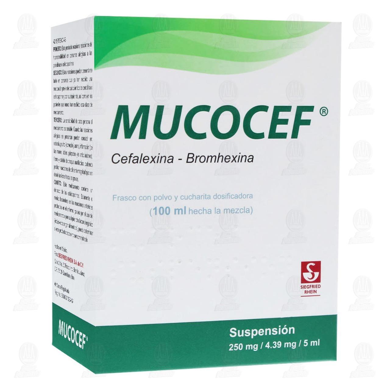 Comprar Mucocef 250mg/4.39mg/5ml 100ml Suspensión en Farmacias Guadalajara