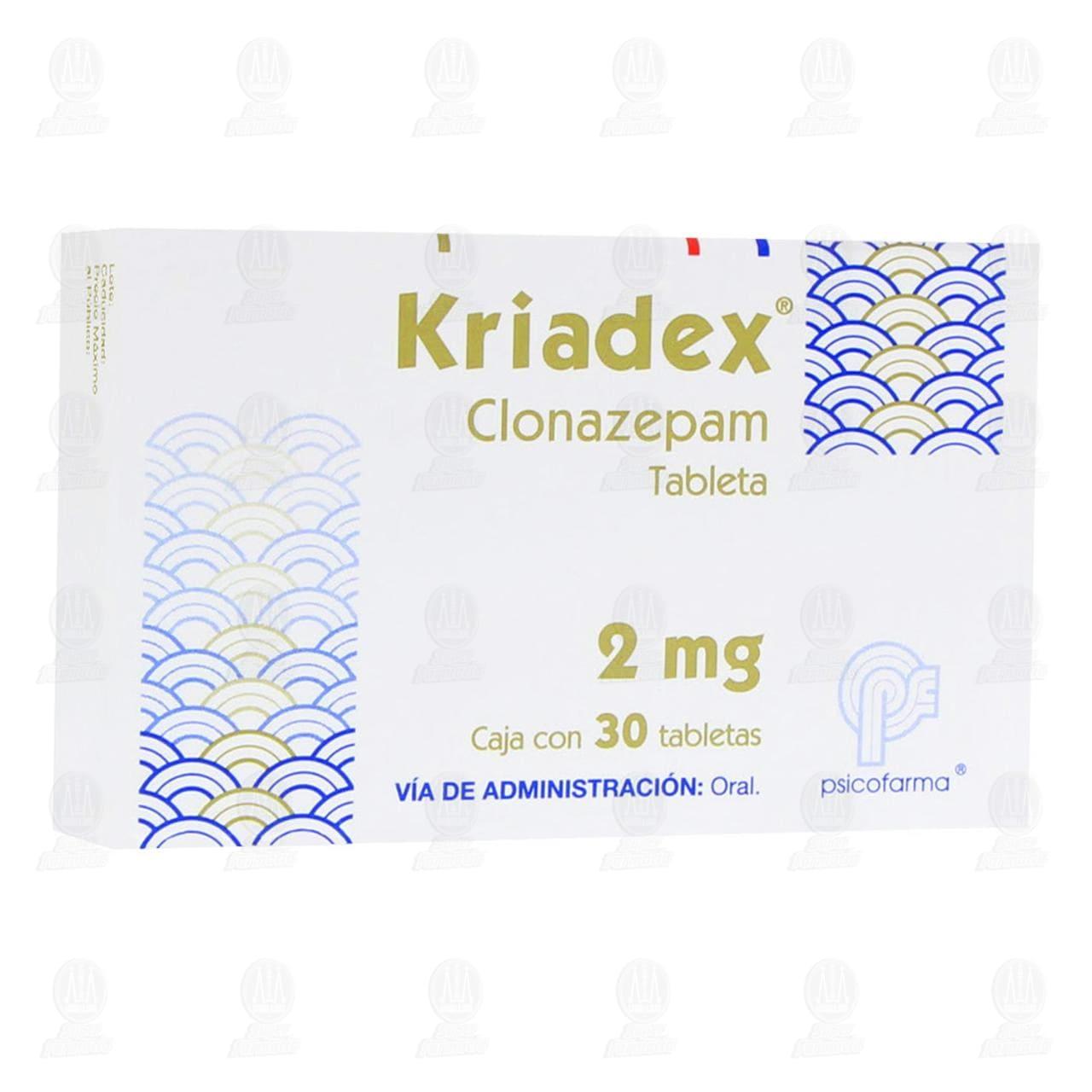 Comprar Kriadex 2mg 30 Tabletas en Farmacias Guadalajara