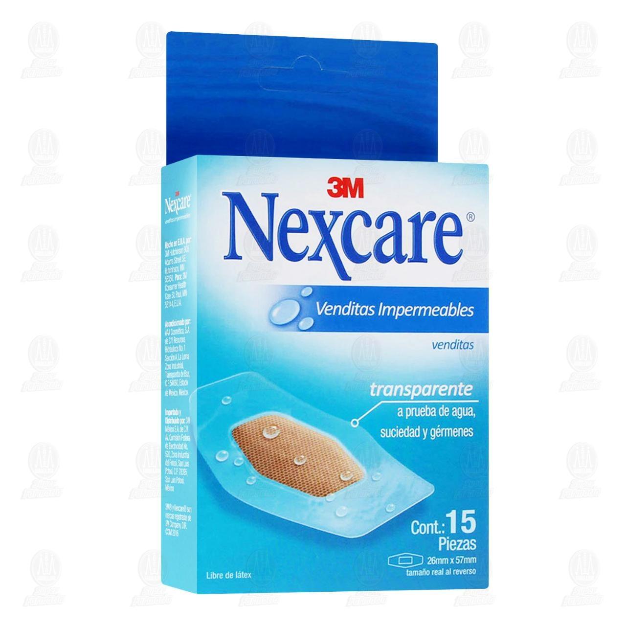 Comprar 3M Nexcare Venditas Impermeables Transparentes 26mm x 57mm 15pzas en Farmacias Guadalajara