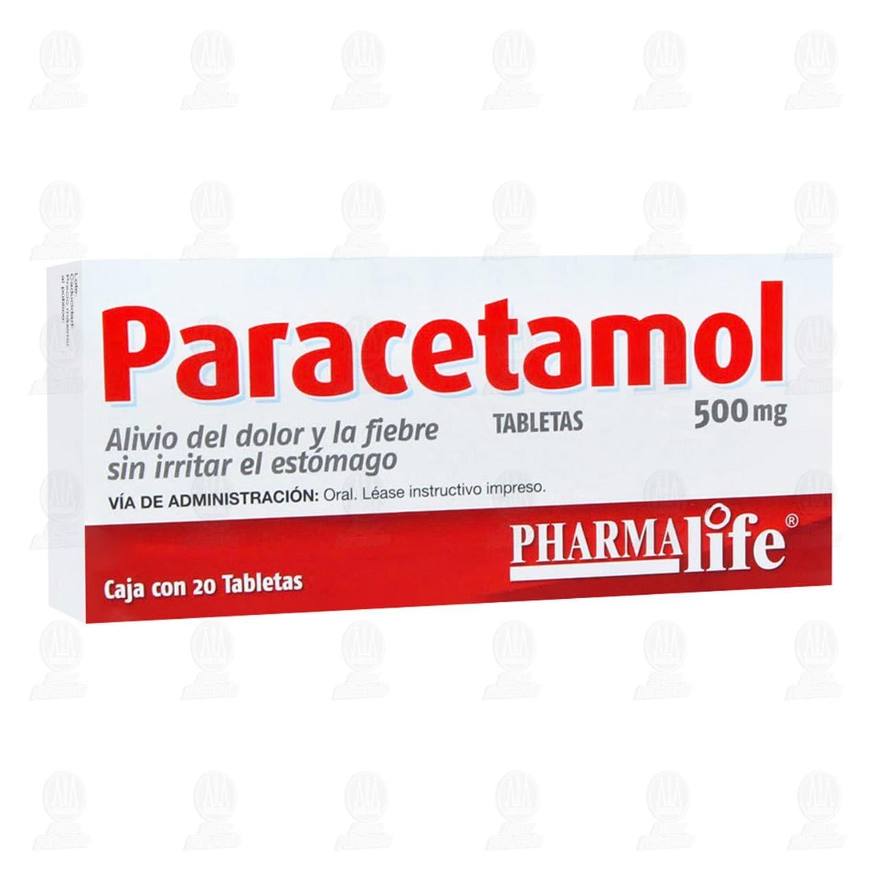 Comprar Paracetamol 500mg 20 Tabletas Pharmalife en Farmacias Guadalajara