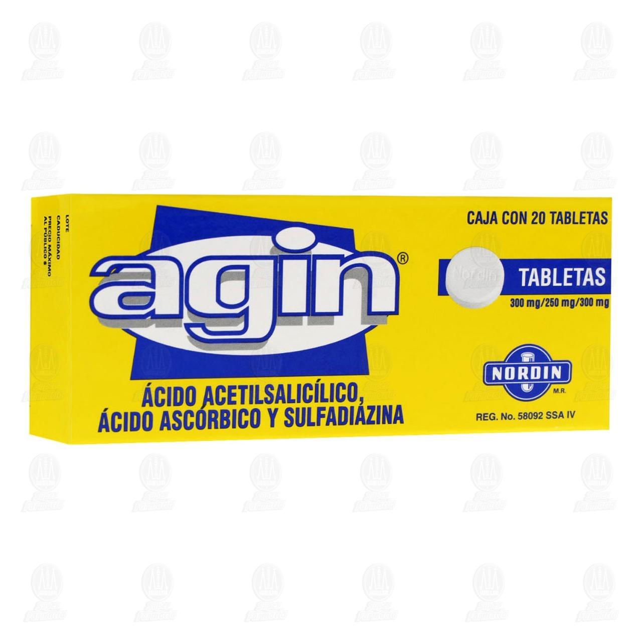 Comprar Agin 300mg/250mg/300mg 20 Tabletas en Farmacias Guadalajara