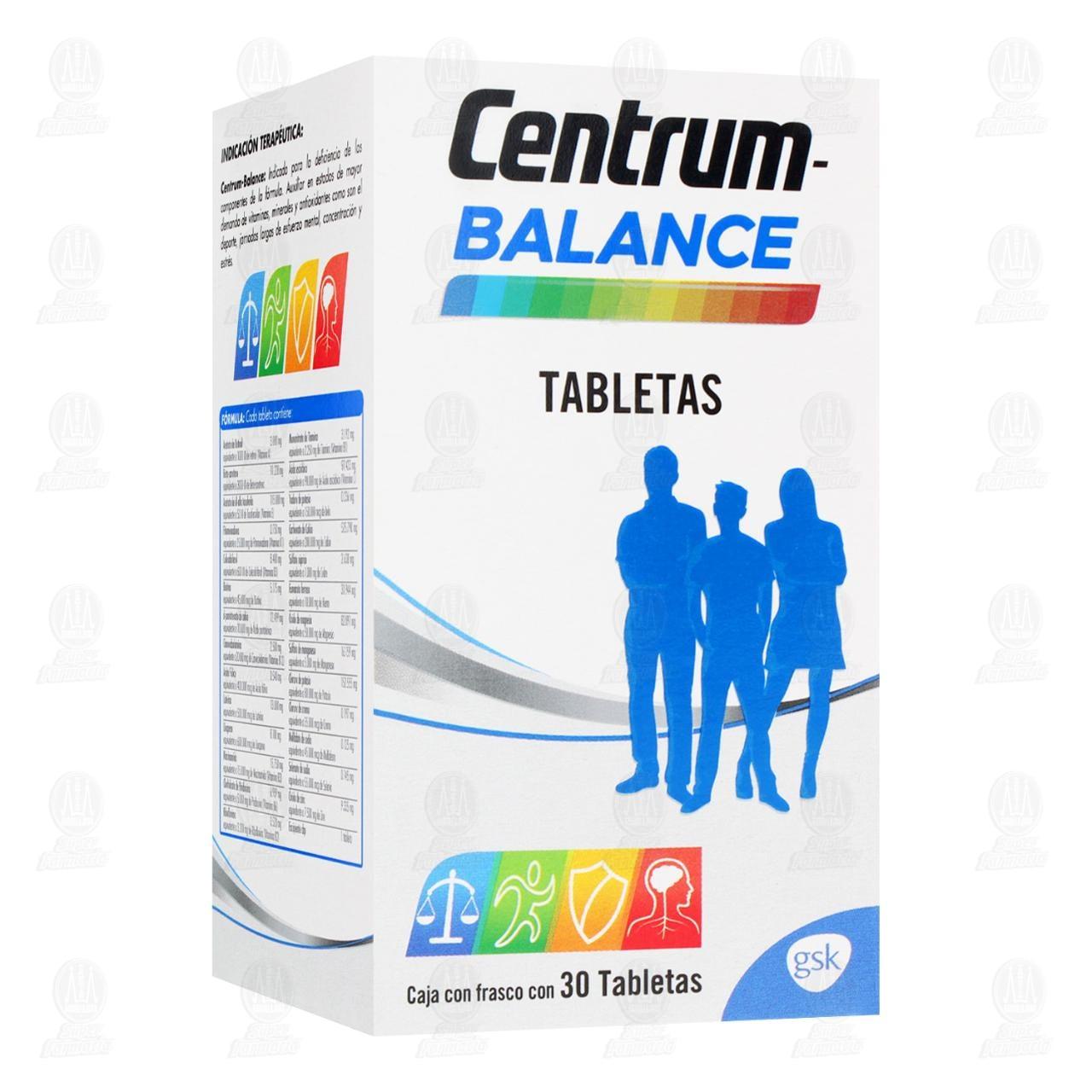 Comprar Centrum Balance Multivitamínico 30 Tabletas en Farmacias Guadalajara