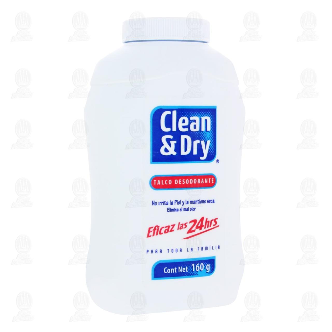 Talco Desodorante Clean & Dry Eficaz las 24 Horas, 160 gr.