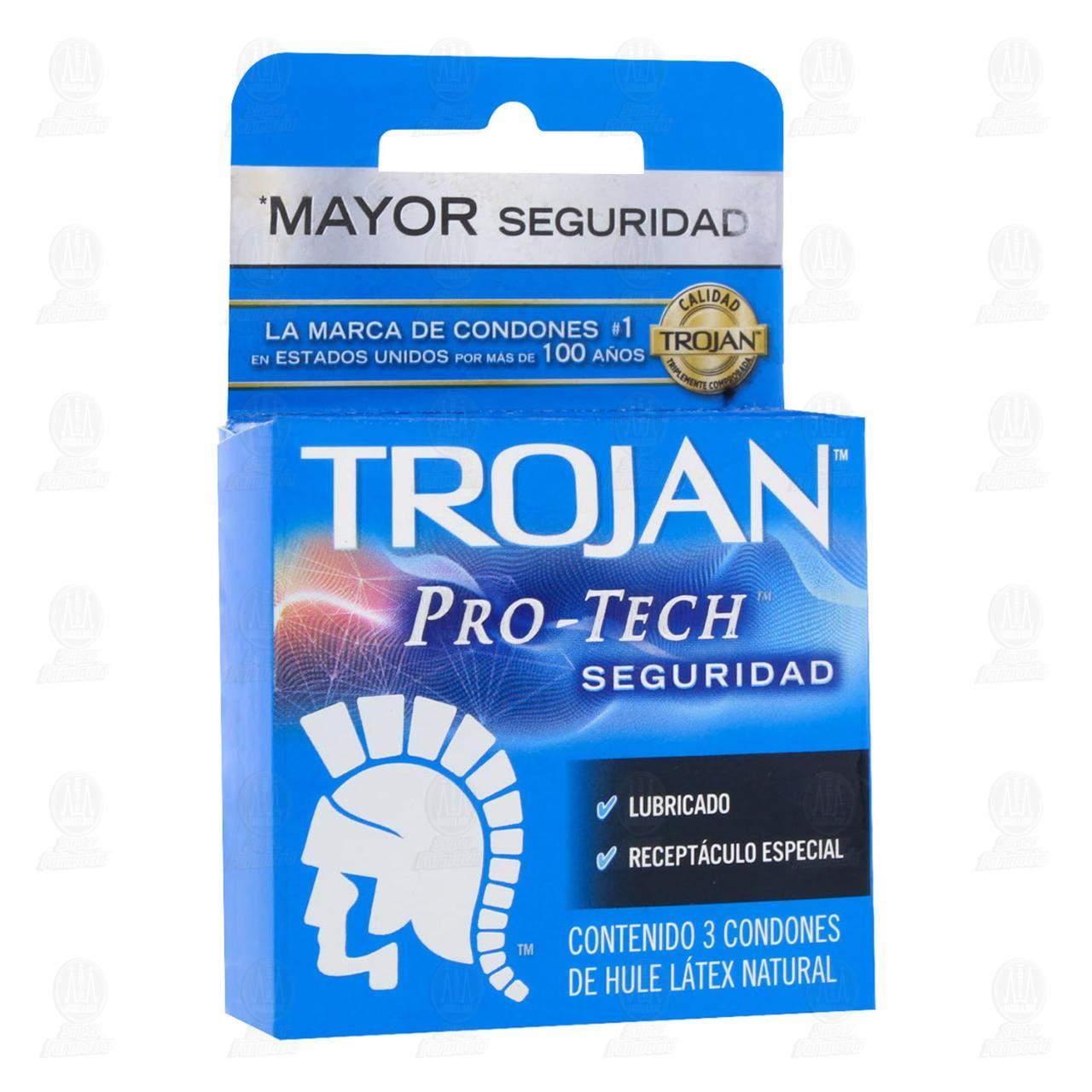 Comprar Trojan Pro-Tech Condones 3pzas en Farmacias Guadalajara