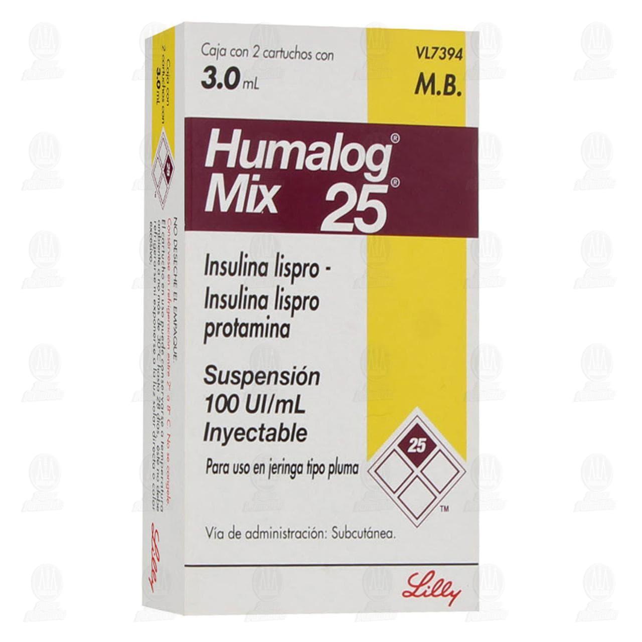 Comprar Humalog Mix 25 Suspensión Inyectable 100UI/ml 2 Cartuchos 3ml en Farmacias Guadalajara