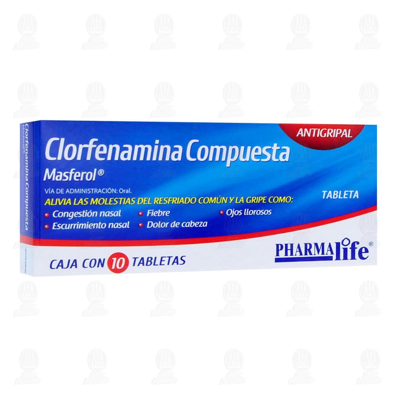 Clorfenamina Compuesta Pharmalife 10 Tabletas