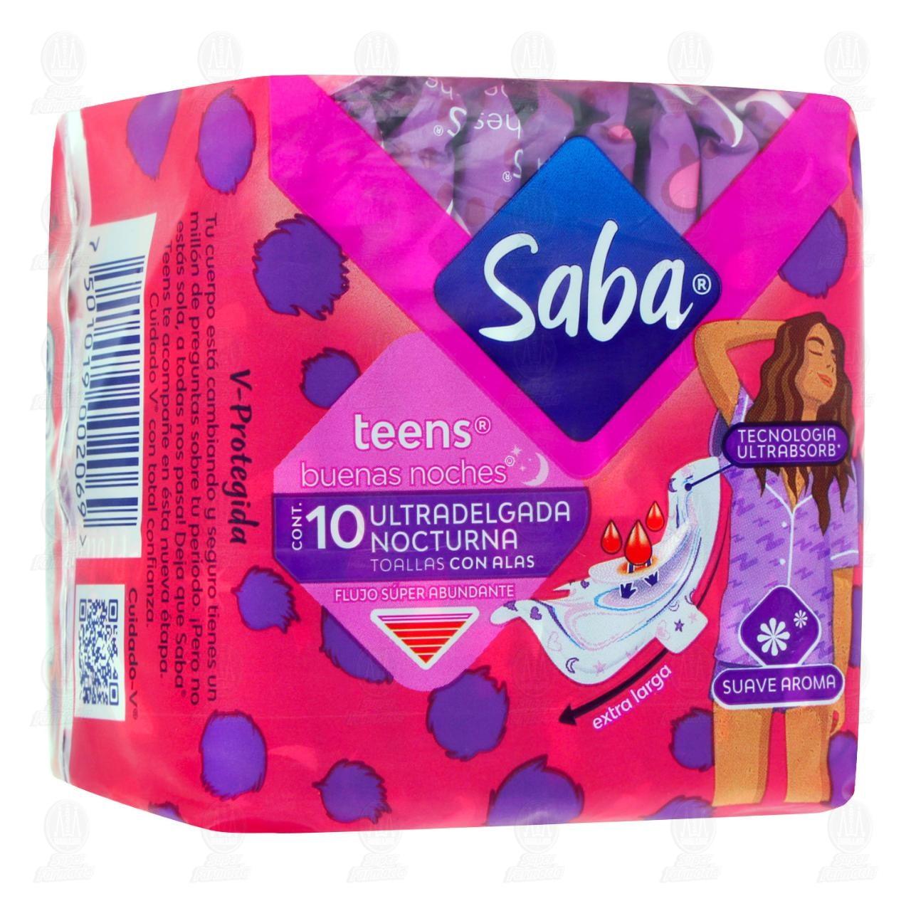 Comprar Toallas Femeninas Saba Teens Ultradelgada Nocturna con Alas, 10 pzas. en Farmacias Guadalajara