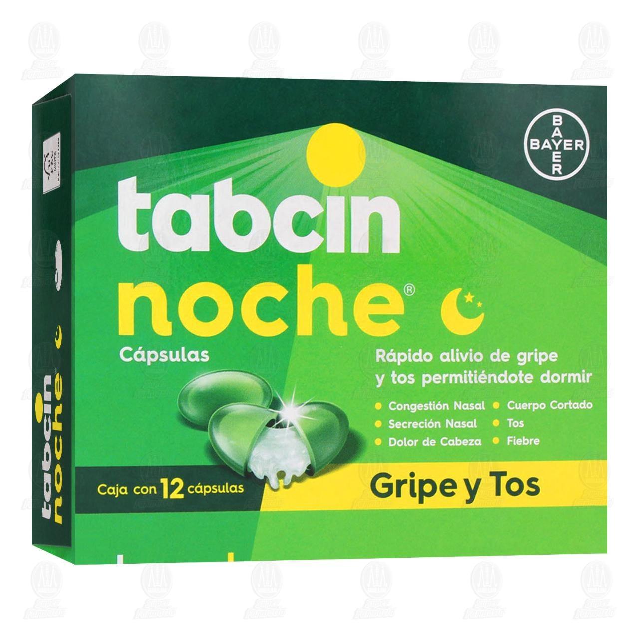 Comprar Tabcin Noche para las Molestias de la Gripe y Tos Ayuda a Conciliar el Sueño 12 Cápsulas en Farmacias Guadalajara