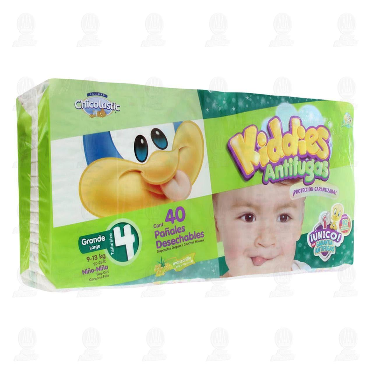 Comprar Pañales para Bebé Chicolastic Kiddies Antifugas Talla 4 G, 40 pzas. en Farmacias Guadalajara