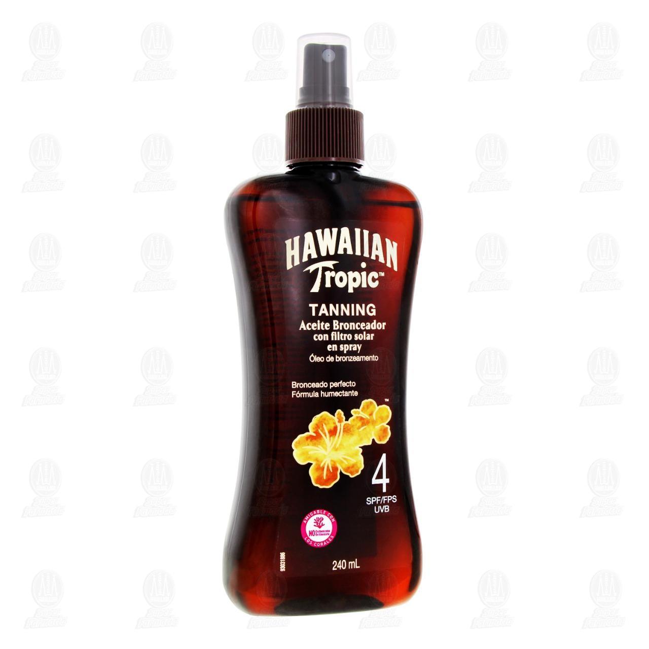 Aceite Bronceador Hawaiian Tropic con Filtro Solar en Spray FPS 4, 240 ml.