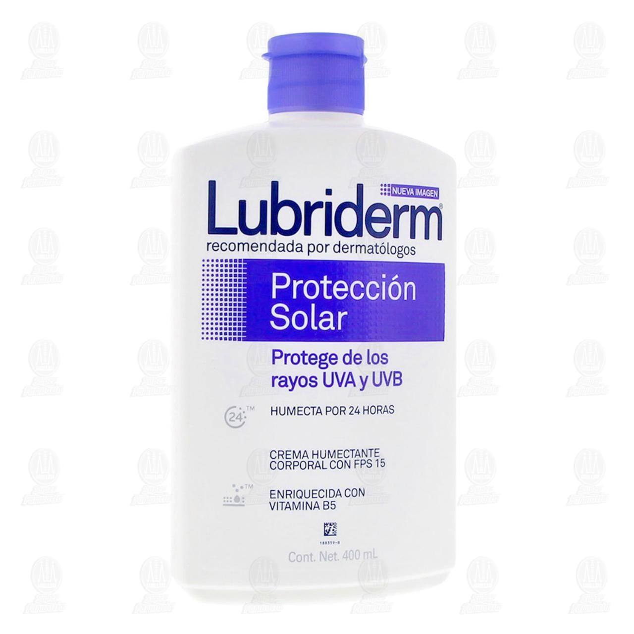 Comprar Crema Corporal Lubriderm Protección Solar FPS 15, 400 ml. en Farmacias Guadalajara