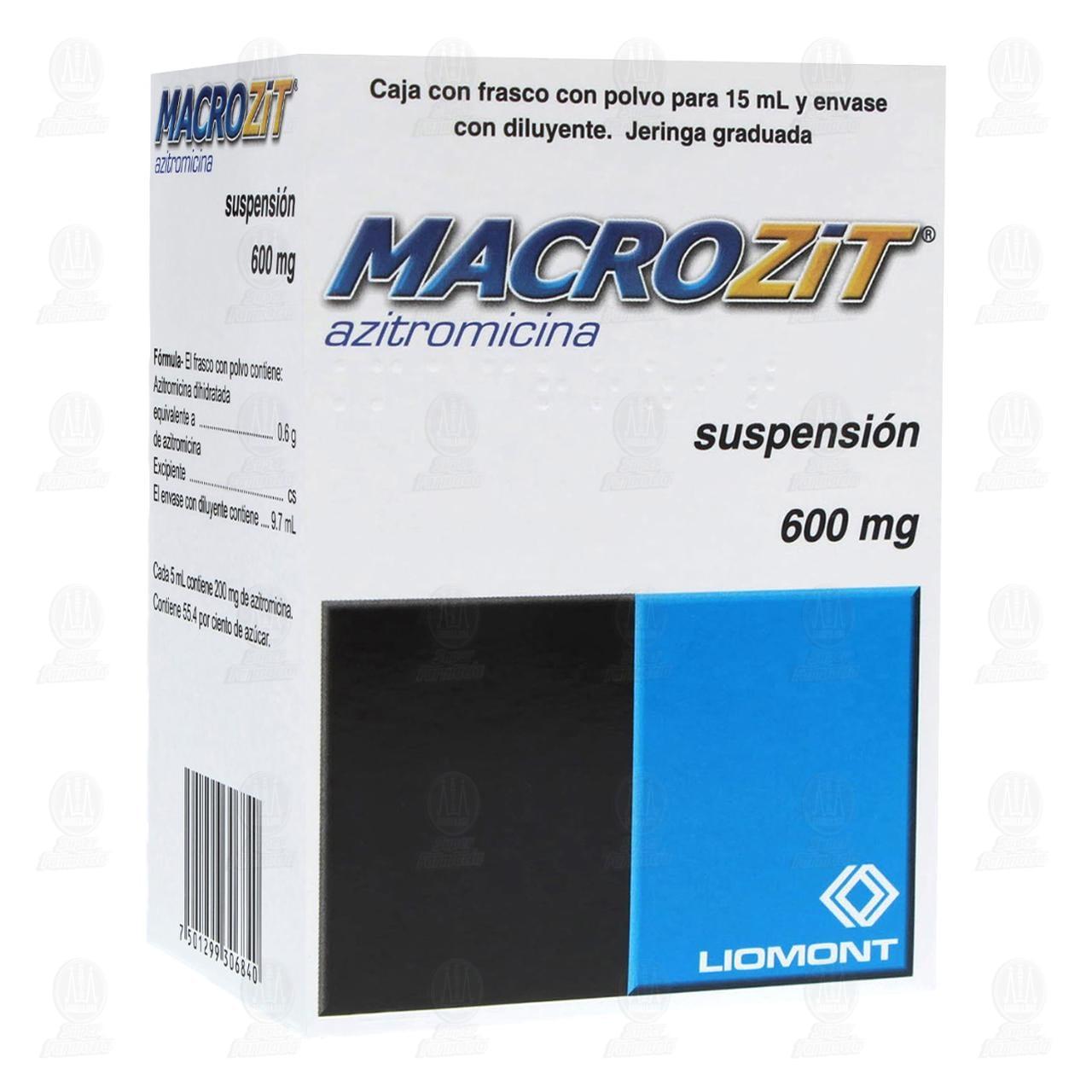 Comprar Macrozit 600mg Suspensión Polvo 15ml en Farmacias Guadalajara